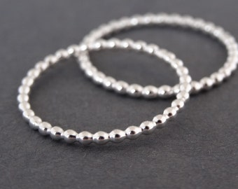 Silver Bubble Ring dainty Stacking Ring handmade skinny sterling silver bead wire stack ring