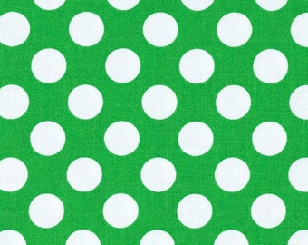 Green White Emerald Ta Dot Michael Miller Fabric 1 yard