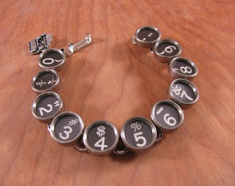 Typewriter Key Jewelry - Authentic Black Number Key Typewriter Key Bracelet - Math, Accounting, Numerology