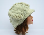 Cable Knit Cap - Women's Newsboy Hat - Slouchy Visor Tam - Cream Hat With Brim - Chunky Headwear - Wool Blend Beanie - Knit Accessories