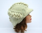 Newsboy Cap Pattern - Instant Download PDF - Knitting Pattern For Slouchy Cable Knit Newsboy Hat - Beanie Instructions - Visor Hat Tutorial