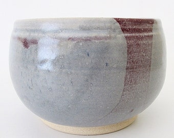 Stoneware Pottery. Small Bowl. Rice or Noodle Bowl. Individual Serving Size. Rose. Mauve. Light Blue Gray. Alice Blue. Artisanal Bowl [2]