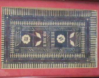 Original Maori Painting on Tapa Cloth Barkcloth Vintage Framed Aboriginal, Wall Hanging Tribal Pacific Island New Zealand