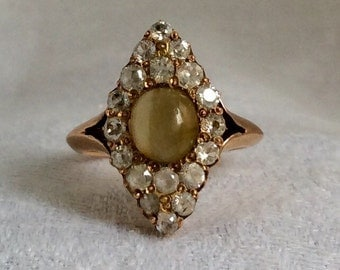 Victorian Cat's Eye Yellow Stone and Paste Ring