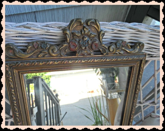 Vintage Barbola Mirror Gesso Roses Shabby French Victorian