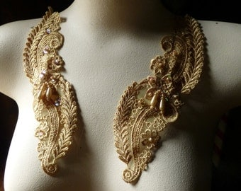 Gold Beaded Lace Applique Pair Venise Lace for Bridal, Sashes, Headbands, Costume Design PR 20