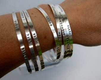 Personalized Stamped Bangle - Sterling