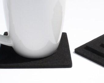 Black Modern Home Kitchen Minimalist Drink Coasters in 5MM Thick Virgin Merino Wool Felt