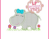 GIRLY HIPPO Applique 4x4 5x7 6x10 SVG Machine Embroidery Design