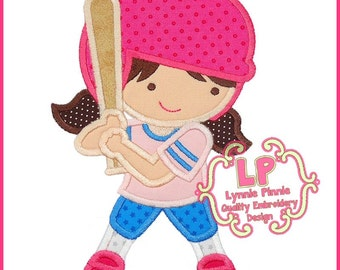 SOFTBALL Girl Applique 4x4 5x7 6x10 SVG Machine Embroidery design