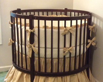 Rustic Round Crib Bedding Set Tan and Cream Matelasse
