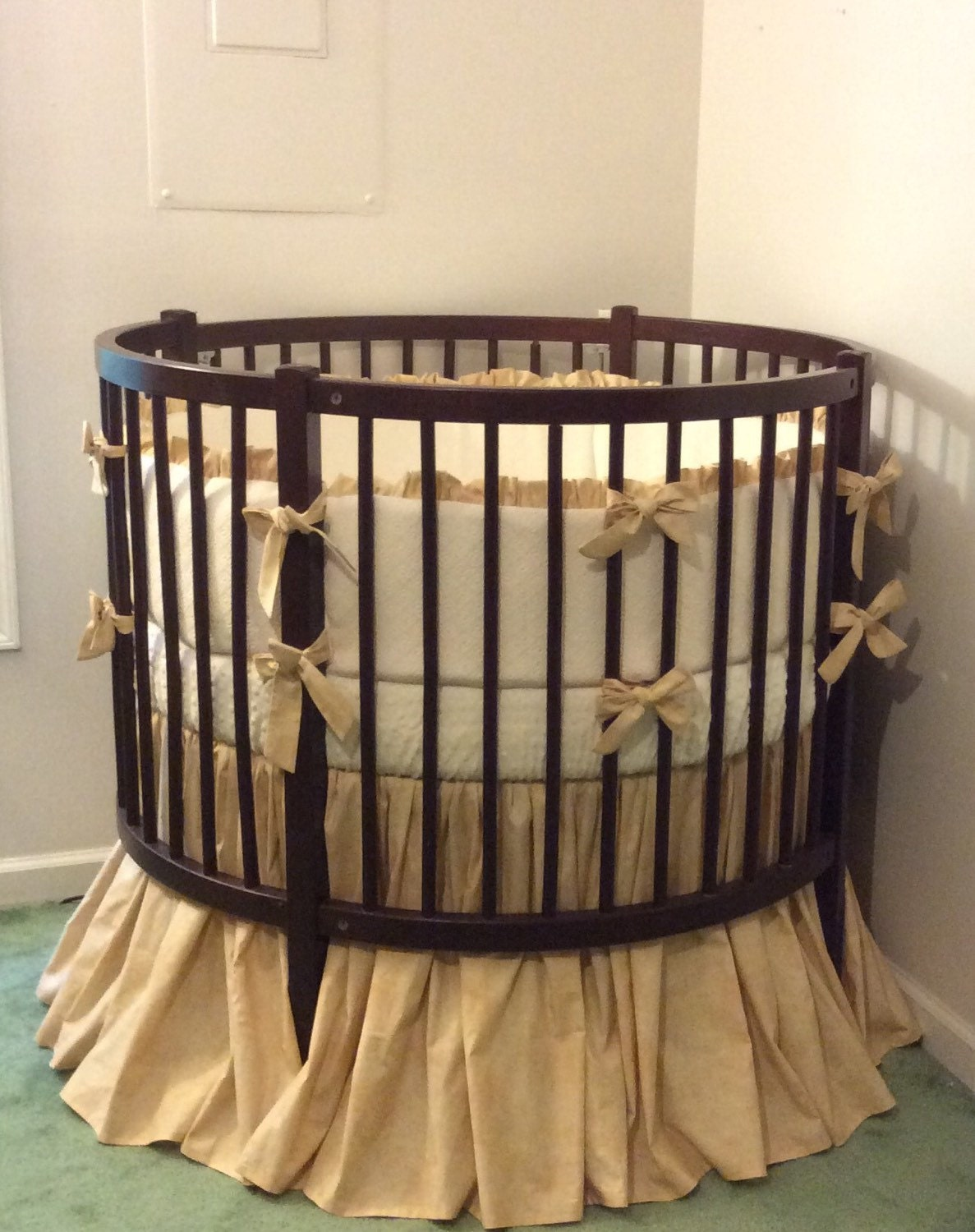 Rustic Round Crib Bedding Set Tan and Cream by butterbeansboutique