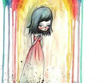 ACEO / ATC / Artists Trading Card - 'Babe Rainbow' - Mini Fine Art Print - based on Melanie Safka song - watercolor - Jessica von Braun