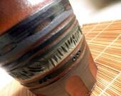 handmade Stoneware Vase / Pot, carved surface, Indian / Southwest design
