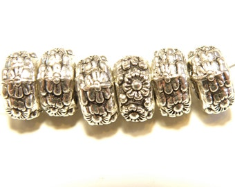 6 Pewter Silver Large Hole Flower Design Rondelle Spacer Beads
