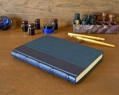 Leather spine journal lined 6x8.5in. 15x22cm - navy blue French goatskin leather with five raised bands and navy book cloth - Ready to ship