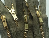 YKK Brass Metal Zippers Dark Army Green (5) Pieces- Color 242- Available in 6 or 7 Inches