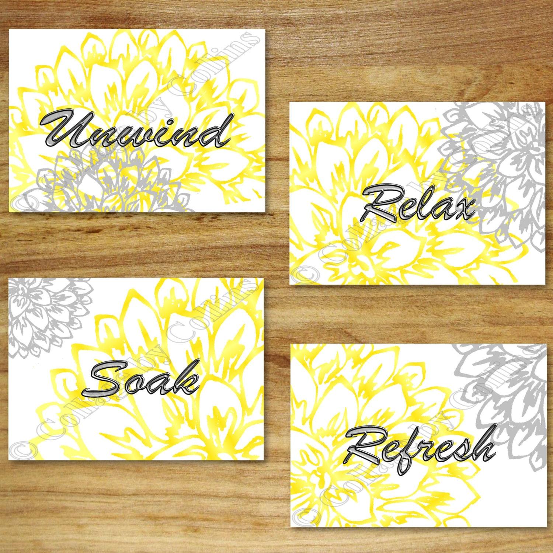 peony yellow and gray bathroom wall art prints decor flower. Black Bedroom Furniture Sets. Home Design Ideas