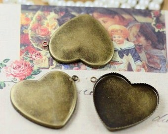 Cameo Setting 10pcs 25mm Antique Bronze Heart Cabochons Settings Cameo Base--20% OFF