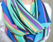 Summer Infinity Scarf, Pastel Green Blue Pink Yellow Mauve Purple, Striped,Sheer Summer Scarf,Womens Scarf,Oversized Scarf,Free Shipping