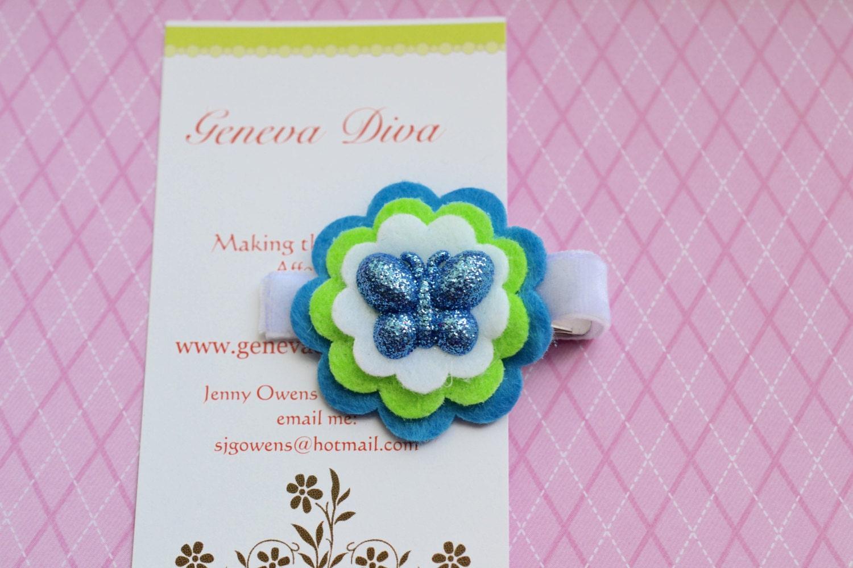 Turquoise Glitter Butterfly Stacked Felt Flower by GenevaDiva