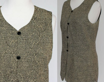 80's  Long Tapestry Vest / Black and Tan / Small to Medium
