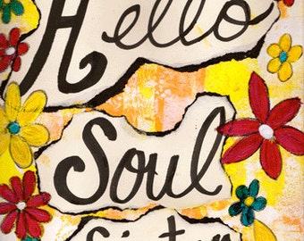 """Hello Soul Sister 5""""x7"""" Blank All Occasion Card with Envelope, Hello Card, Hello Collection, Wholesale Greeting Cards, Hello Stationery"""