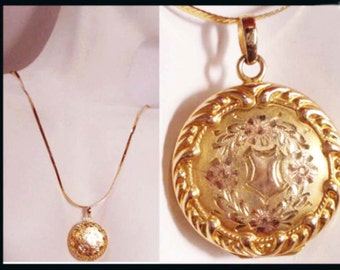 14kt GOLD Antique Victorian Locket Necklace * Vintage keepsake* photo keeper* Fancy etched jewelry * solid gold chain* rose yellow gold
