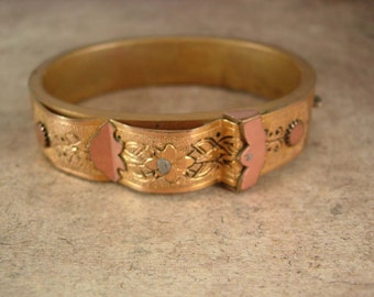 Vintage Victorian Bracelet / buckle front / fancy etched bangle hinged taille d' epergne Antique wedding bangle rose gold  yellow plated