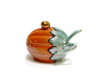 Lusterware Pumpkin Shaped Covered Bowl & Ladle Vintage Germany 1940s