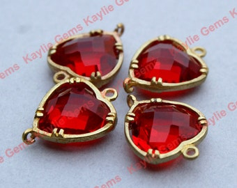 Ruby Red Heart 12x16mm Connector Link Charm Faceted Glass Jewel Checker Brass Setting, Hand Set by Me, Proudly Made in Virginia, USA - 2 pcs