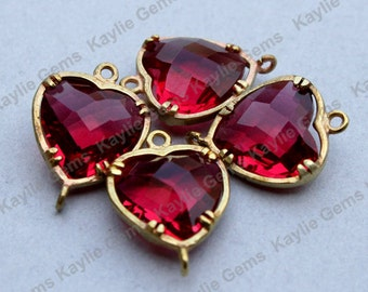 Rose Red Heart 12x16mm Connector Link Charm Faceted Glass Jewel Checker Brass Setting, Hand Set by Me, Proudly Made in Virginia, USA - 2 pcs