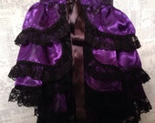 Burlesque tie on Bustle skirt - medieval cross design silky satin -  purple and black with black lace