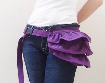 Halloween SALE - 20% OFF Gathered Waist Purse in Purple / Fanny Pack / Hip Bag / Pouch / Waist Belt / Women / For Her / Gift Ideas