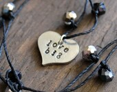 Love big necklace, inspirational jewelry, motivational jewelry, hand stamped, affirmation jewelry