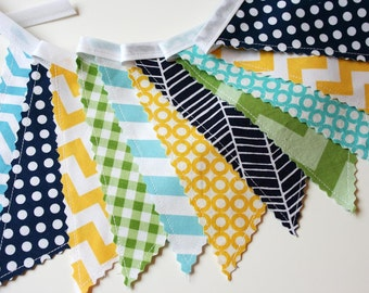 Bunting Banner, Baby Fabric Banner, Turquoise Navy Green Yellow Bunting, Nursery Decor, Boy Bunting Blue Gray- READY To SHIP