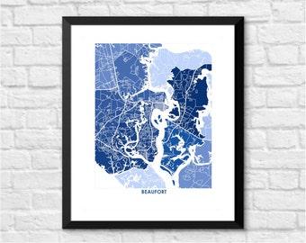 Beaufort SC Map Print.  Choose your Colors and Size.  South Carolina Coastal Wall Art.