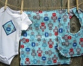 Baby Gift Set - Robots Rule - includes bib, burp cloth, baby bodysuit (available in size Newborn - 24 months)