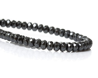 Natural Hematite Beads faceted flat round grey strands 4mm (Grade A)  PN503