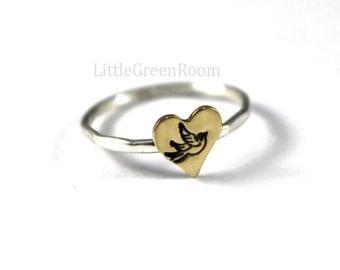 Heart Ring, Gold Heart ring, Sparrow Heart Ring, Stack Ring, Silver Stack Ring, Heart Stack Ring, Sparrow Ring,