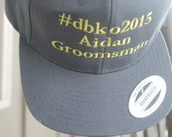 Hashtag #, Wedding Party, Groomsman, Ring Bearer, Adult/Youth Customized Embroidered Personalized Flatbill Snapback Baseball Cap Your Colors