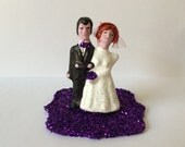 Retro Bride and Groom Cake Topper - Wedding, Engagment Party, Bachelorette Party, Elopement