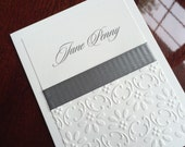 Embossed Gray on Cream Personalized Note Cards Custom Stationery by Lime Green Rhinestones