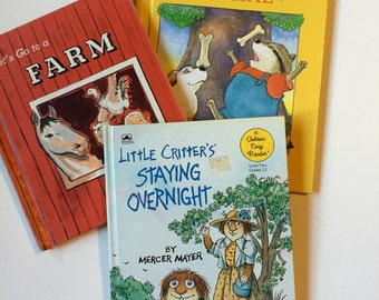 Set of 3 Vintage Children's Books, Illustrated Kids Books 1950s, 1980s, Instant Collection of Fiction Books about Animals, on SALE