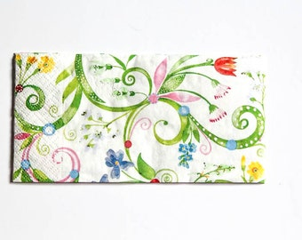 Flowers Ornament Napkin, Paper Napkin for Decoupage, Craft Napkin, Scrapbooking Napkin, Decoupage Paper Tissue