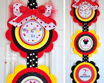 Minnie Mouse Door Sign, XL Welcome Door Hanger, Minnie Mouse inspired Birthday, Vertical Door Sign