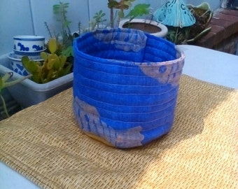 Vessel Nautical Broadcloth & Leather Round Storage Plant Pot Sized by artdesignsbydanielle