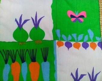 Art Textile Veggie Garden Table Mat Or Wall Decor Fun Summer Textile by artdesignsbydanielle