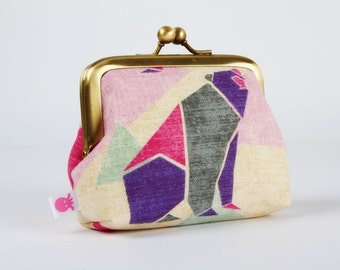 Metal frame purse with two sections - Origami bears in purple and pink - Siamese dad / Japanese fabric / Modern graphic / Mint green fuchsia