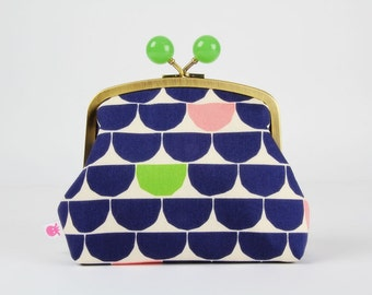 Metal frame clutch bag - Half dots in blue pink and green - Color bobble purse / Modern japanese fabric / Geometric / metallic gold / lime